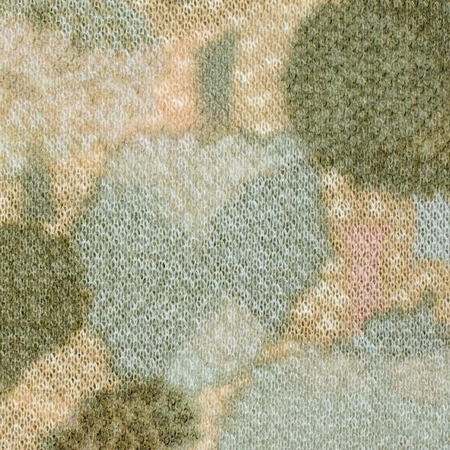 アクリル&ウール×幾何学模様(ベージュ&グリーン)×メッシュニット イメージ1