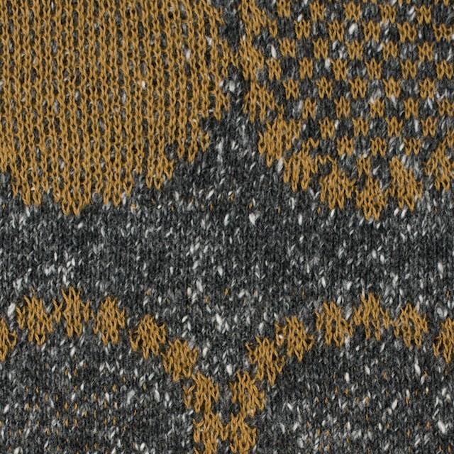 コットン&アクリル混×幾何学模様(オーカー&グレー)×ジャガードニット イメージ1