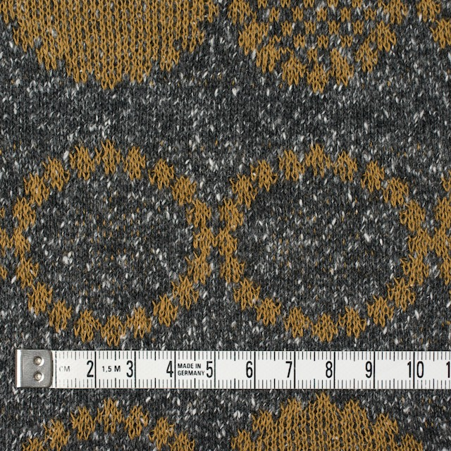 コットン&アクリル混×幾何学模様(オーカー&グレー)×ジャガードニット イメージ4