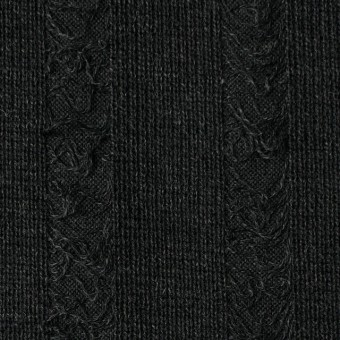 アクリル&ウール混×無地(チャコールブラック)×模様編みニット サムネイル1