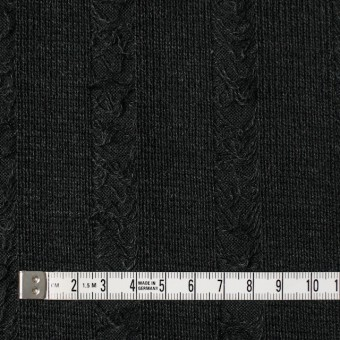 アクリル&ウール混×無地(チャコールブラック)×模様編みニット サムネイル4