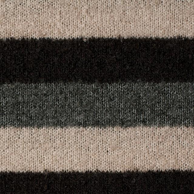 アクリル×ボーダー(グレー&ブラウン、ベージュ)×天竺ループニット イメージ1