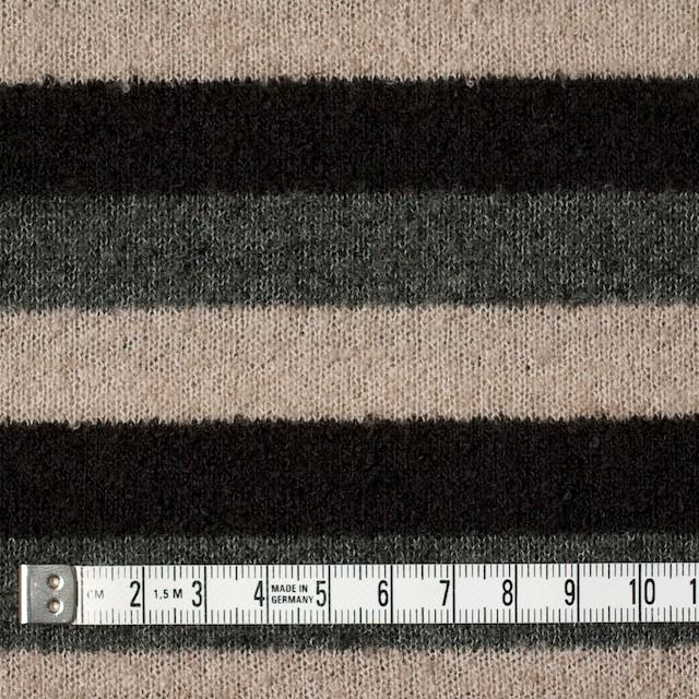 アクリル×ボーダー(グレー&ブラウン、ベージュ)×天竺ループニット イメージ4