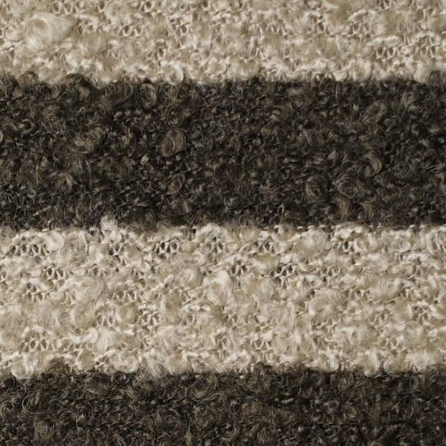 ウール&ポリエステル×ボーダー(ベージュ&カーキブラウン)×ループニット_全2色 イメージ1