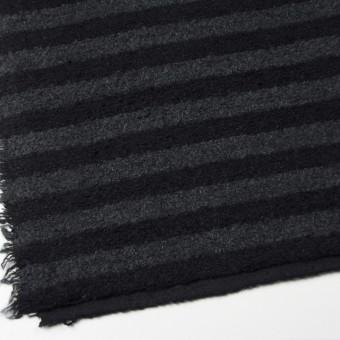 ウール&ポリエステル×ボーダー(チャコールグレー&ブラック)×ループニット_全2色 サムネイル2