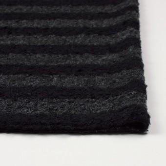 ウール&ポリエステル×ボーダー(チャコールグレー&ブラック)×ループニット_全2色 サムネイル3