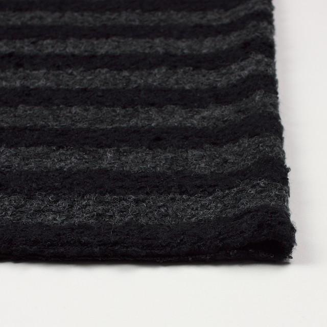 ウール&ポリエステル×ボーダー(チャコールグレー&ブラック)×ループニット_全2色 イメージ3