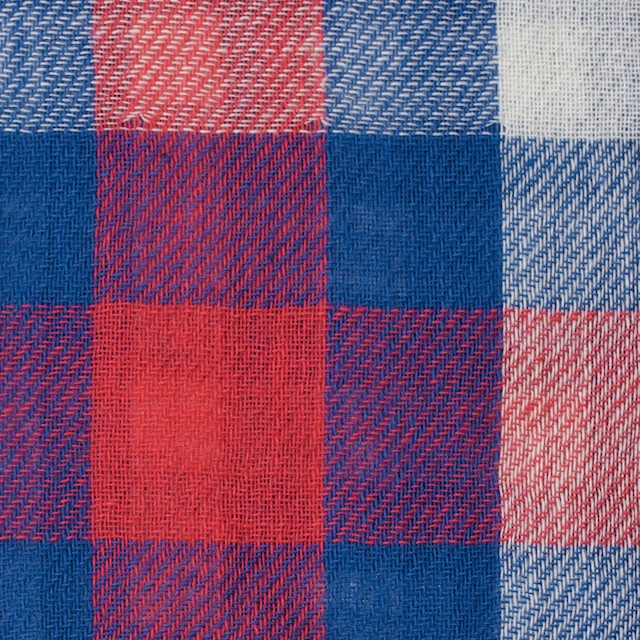 コットン×チェック(レッド&ブルー)×Wガーゼ イメージ1