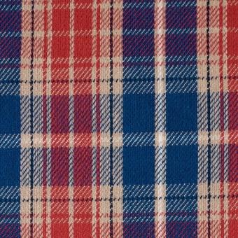コットン×チェック(ベージュ&レッド、ブルー)×フランネル サムネイル1
