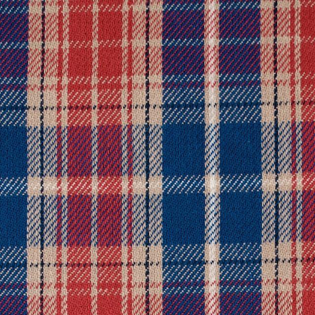 コットン×チェック(ベージュ&レッド、ブルー)×フランネル イメージ1