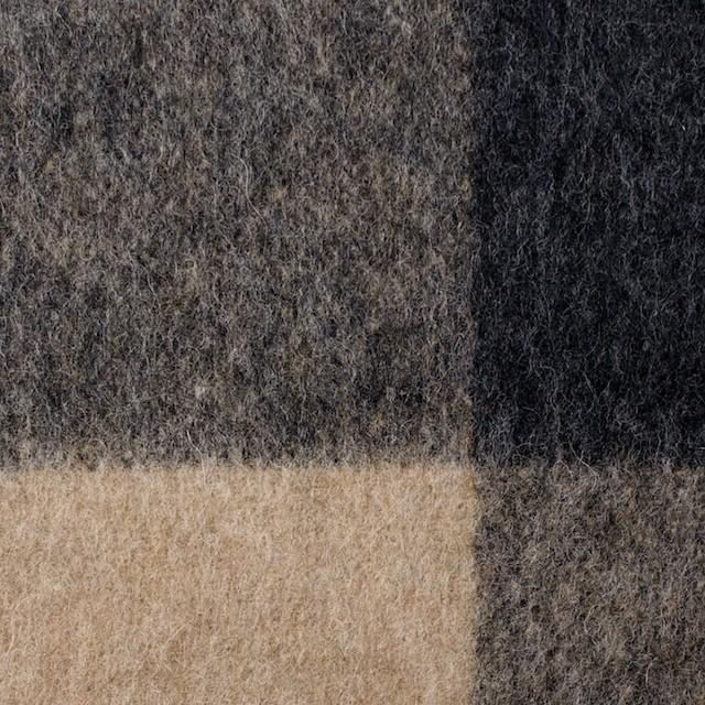 ウール×チェック(ベージュ&グレー)×起毛ツイード イメージ1