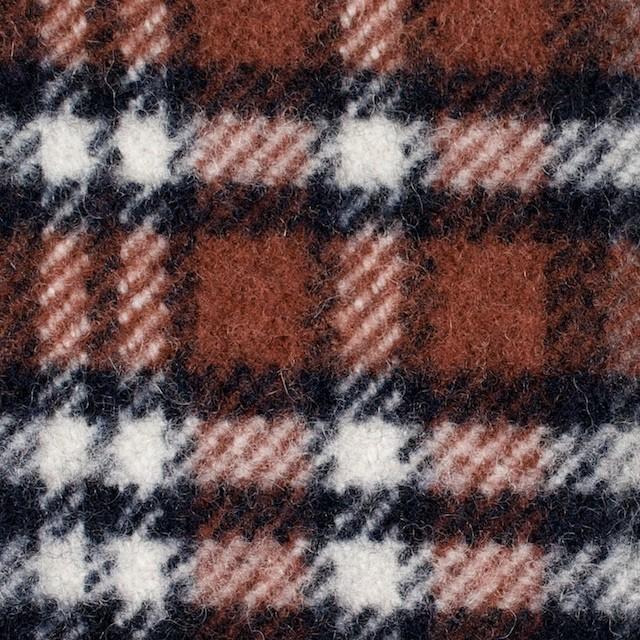 ウール&ポリエステル×チェック(レッドブリック、ブラック&グレー)×厚カルゼ イメージ1