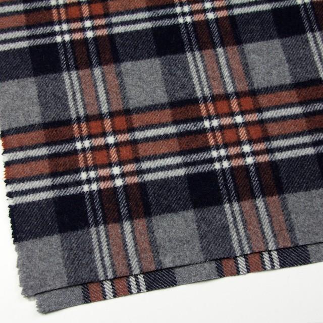 ウール&ポリエステル×チェック(レッドブリック、ブラック&グレー)×厚カルゼ イメージ2