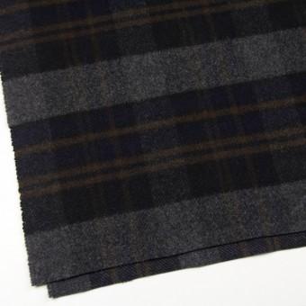 ウール&ポリエステル×チェック(ブラウン、ブラック&グレー)×モッサー サムネイル2