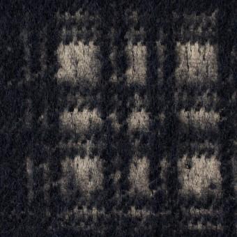 ウール×チェック(ベージュ&ネイビー)×シャギー サムネイル1