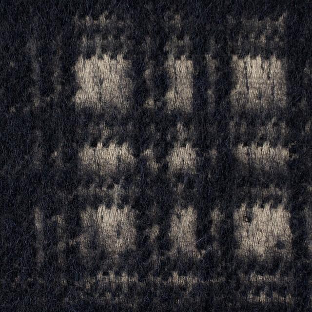 ウール×チェック(ベージュ&ネイビー)×シャギー イメージ1