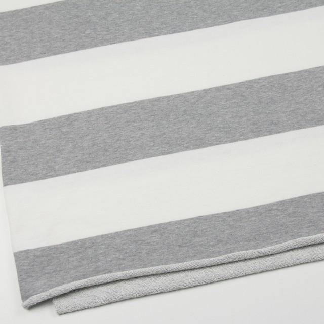 コットン×ボーダー(ホワイト&グレー)×裏毛ニット イメージ2