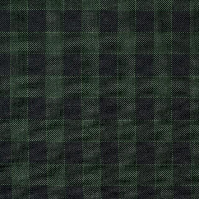 コットン×チェック(グリーン&ブラック)×薄サージ イメージ1