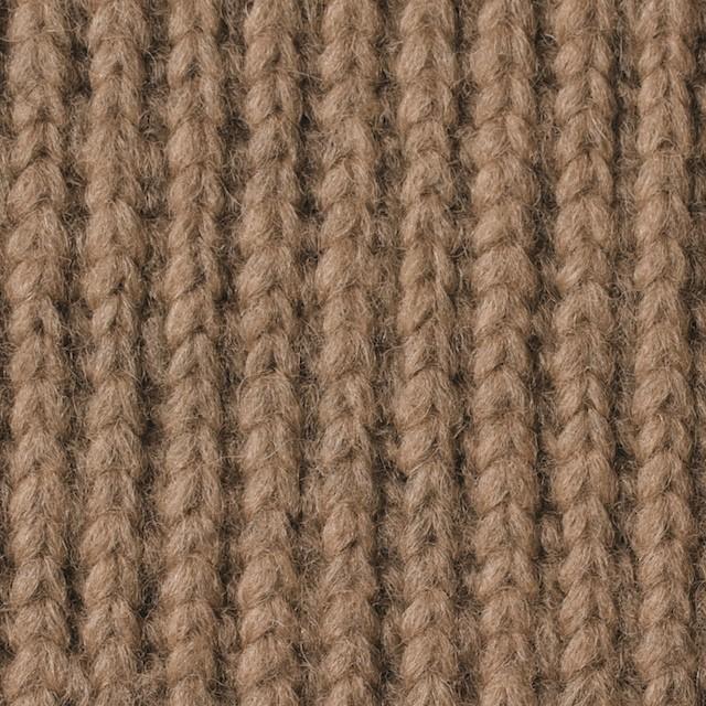 ウール&ポリエステル×無地(ベージュ)×リブ編みニット_全2色 イメージ1
