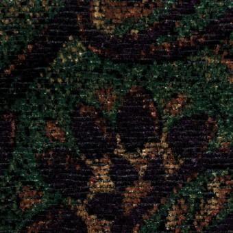 レーヨン&ポリエステル×ペイズリー(オレンジ&グリーン)×ジャガード・ベルベット サムネイル1