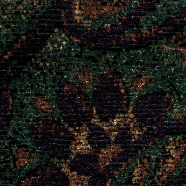 レーヨン&ポリエステル×ペイズリー(オレンジ&グリーン)×ジャガード・ベルベット イメージ1