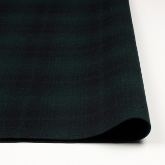 ウール&ナイロン×チェック(グリーン&ブラック)×フラノ(フランネル) サムネイル3