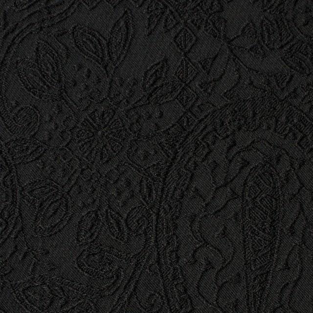 コットン&ポリウレタン×ペイズリー(ブラック)×サテンジャガード・ストレッチ_全2色 イメージ1