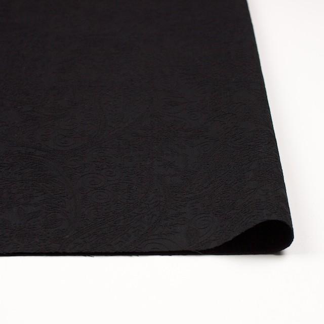 コットン&ポリウレタン×ペイズリー(ブラック)×サテンジャガード・ストレッチ_全2色 イメージ3