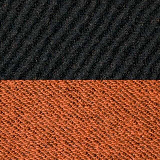 コットン×無地(ブラック&オレンジ)×裏毛ニット イメージ1