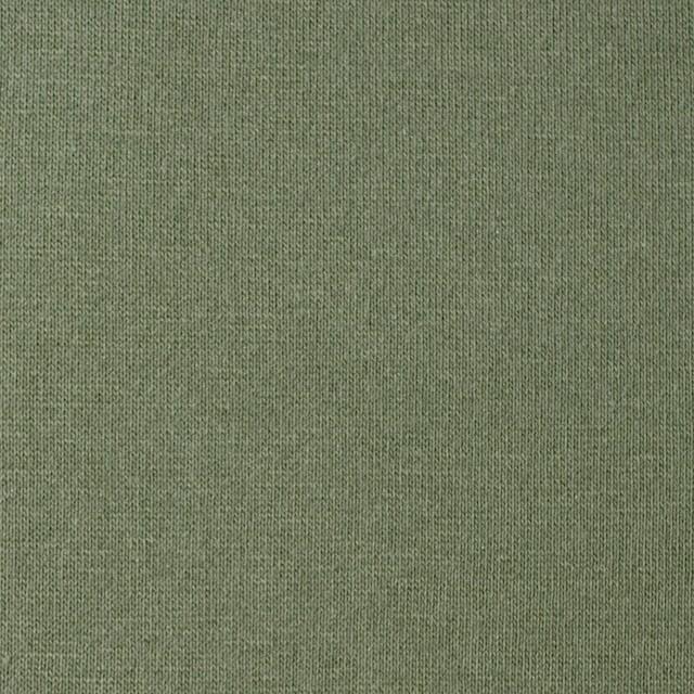 コットン&ポリウレタン×無地(カーキグリーン)×裏毛ニット イメージ1