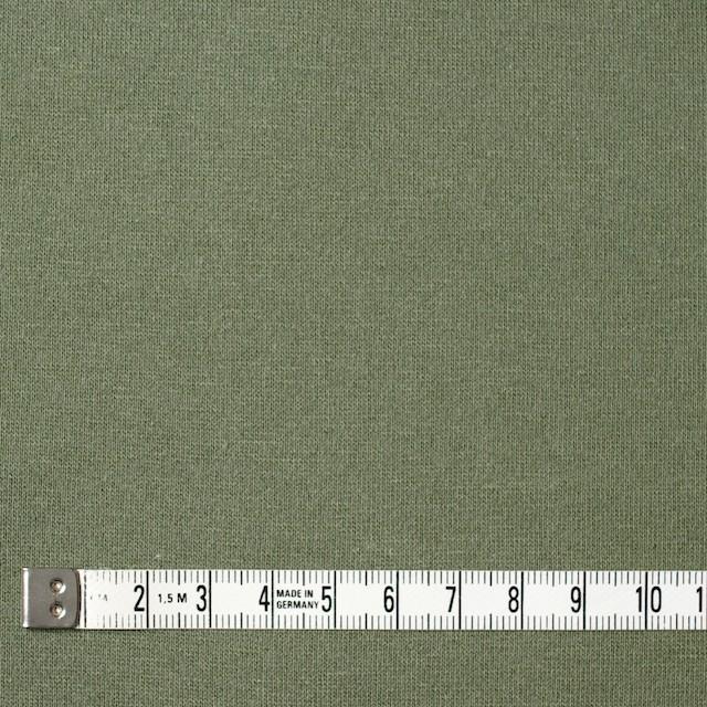 コットン&ポリウレタン×無地(カーキグリーン)×裏毛ニット イメージ4