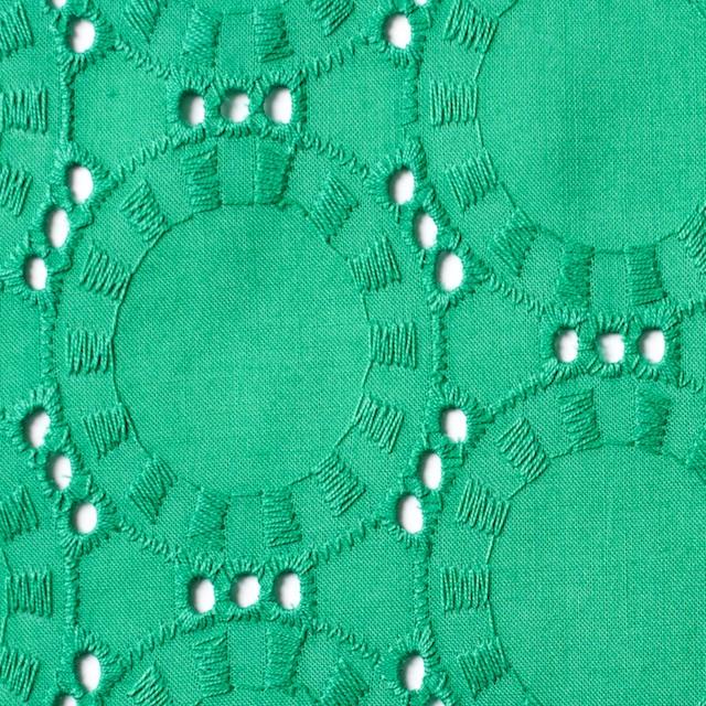 コットン×オーバル(エメラルドグリーン)×ローン刺繍_全10色 イメージ1