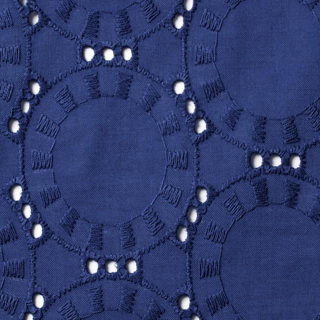 コットン×オーバル(マリンブルー)×ローン刺繍_全10色 イメージ1