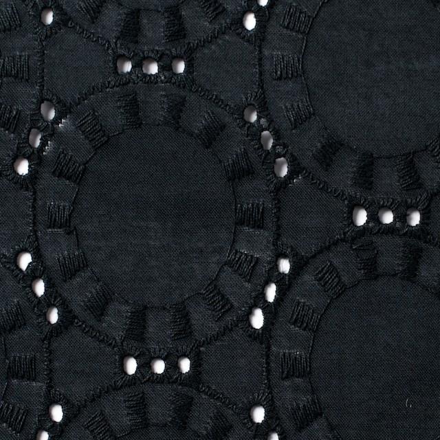 コットン×オーバル(ブラック)×ローン刺繍_全10色 イメージ1