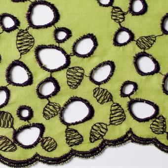 コットン×幾何学模様(イエローグリーン&パープル)×ボイル刺繍_全2色 サムネイル1