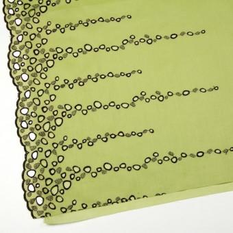 コットン×幾何学模様(イエローグリーン&パープル)×ボイル刺繍_全2色 サムネイル2
