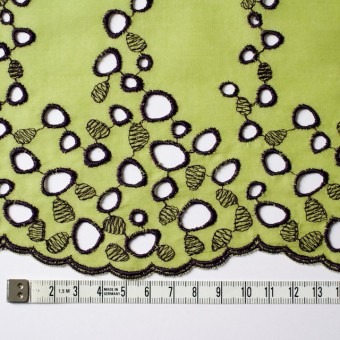 コットン×幾何学模様(イエローグリーン&パープル)×ボイル刺繍_全2色 サムネイル4