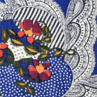 ウール×幾何学模様(ロイヤルブルー)×ボイル_全2色_イタリア製