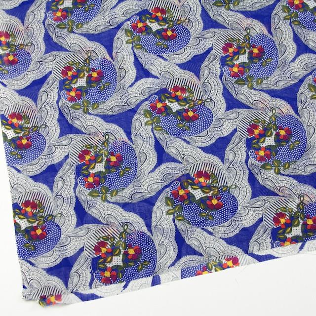 ウール×幾何学模様(ロイヤルブルー)×ボイル_全2色_イタリア製 イメージ2