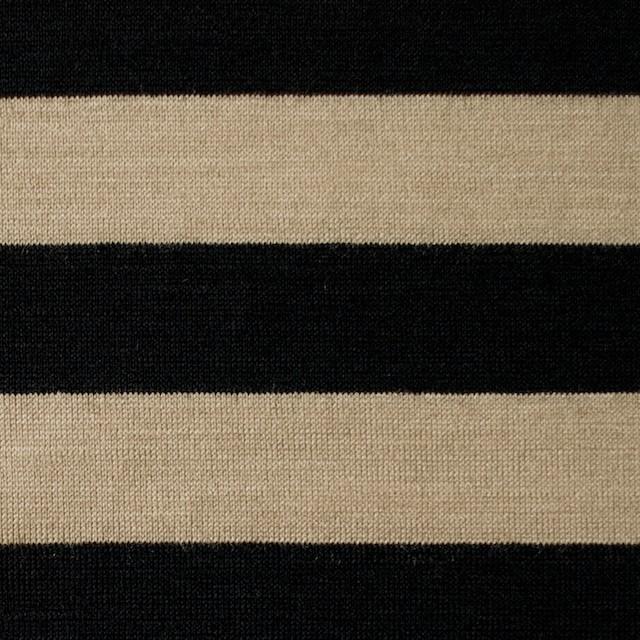 ウール×ボーダー(ベージュ&ブラック)×天竺ニット イメージ1