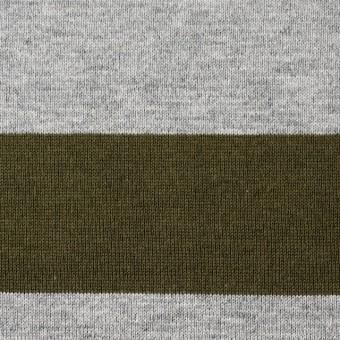 コットン×ボーダー(カーキ&グレー)×天竺ニット_全2色 サムネイル1
