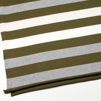 コットン×ボーダー(カーキ&グレー)×天竺ニット_全2色 サムネイル2