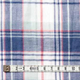 コットン&リネン混×チェック(ヒヤシンスブルー)×ヘリンボーン_全3色 サムネイル4