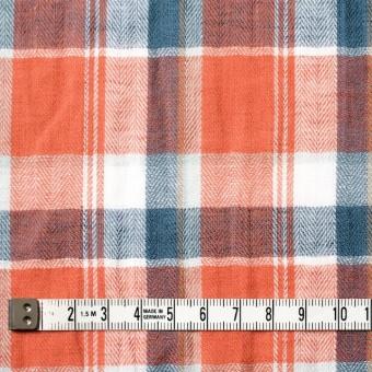 コットン&リネン混×チェック(オレンジ)×ヘリンボーン_全3色 サムネイル4