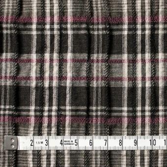 コットン&リネン×チェック(ピンク&ブラウン)×ガーゼ・タテタック_全2色 サムネイル4