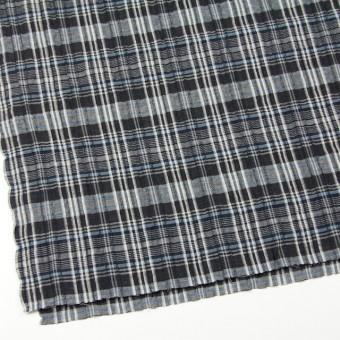 コットン&リネン×チェック(ブルー&ブラック)×ガーゼ・タテタック_全2色 サムネイル2