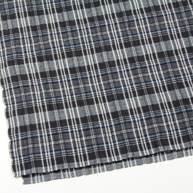 コットン&リネン×チェック(ブルー&ブラック)×ガーゼ・タテタック_全2色 イメージ2