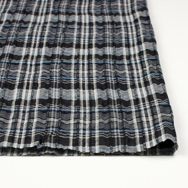 コットン&リネン×チェック(ブルー&ブラック)×ガーゼ・タテタック_全2色 イメージ3