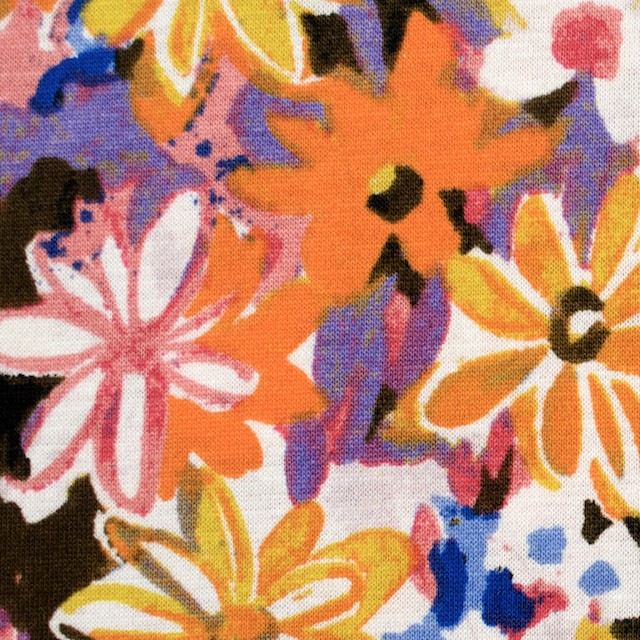 コットン×フラワー(オレンジ&パープル)×天竺ニット_全3色 イメージ1
