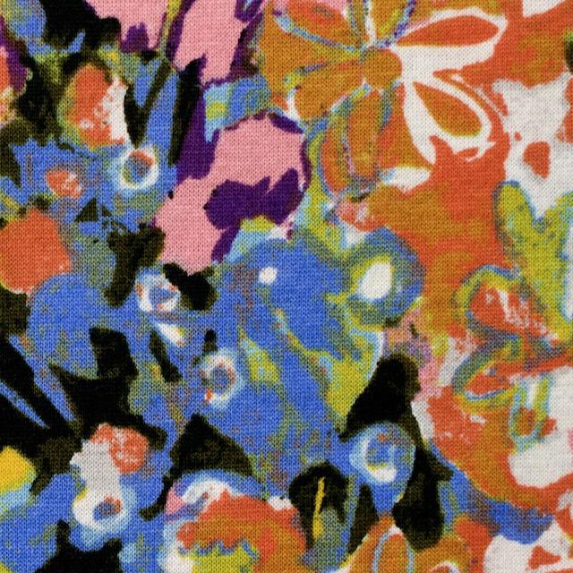 コットン×フラワー(オーカー&サルビアブルー)×天竺ニット_全3色 イメージ1